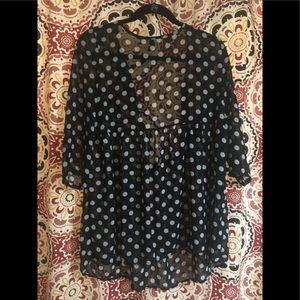 Polka dot loose blouse